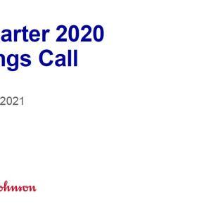 【JNJ20Q4】マークス、                                               ジョンソン&ジョンソンの2020年第4四半期決算発表を確認する。