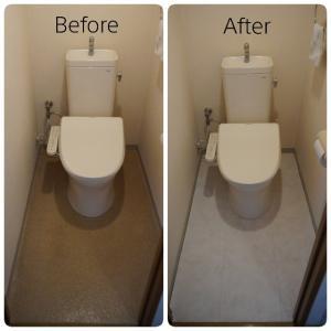 女性一人でも2時間でできた!トイレの床を大理石風クッションフロアでプチリフォーム