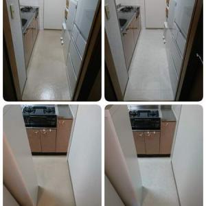 大理石風クッションフロアで、小さな子供にも安心なキッチンと洗面所のプチリフォーム!