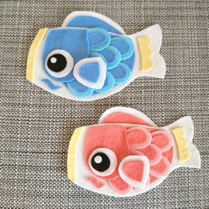 端午の節句、鯉のぼり飾りを100均フェルトで手作り。手芸用ボンドで糸と針不要!子供と一緒に作れます♪