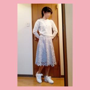 ☆白パーカー×水色レーススカート☆コーデ(2020年6月26日)