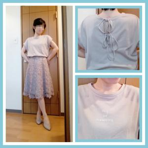 ☆jill バックリボンTシャツ×レーススカート☆今日のコーデ(2020年7月1日)