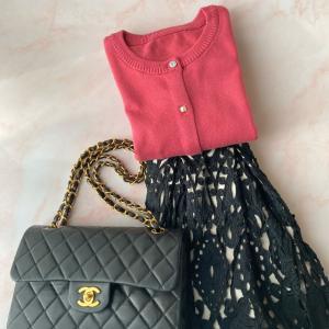 ☆先日のシャネルのバッグ、リペア後初めて使いました☆昨日のカーデコーデ