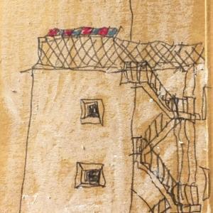 小さなビルの階段のあるスケッチ