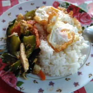タイ パタヤ滞在  朝めし、ぶっかけご飯+りんご 190円位