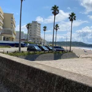 自粛の反動で、車とサーファーが沢山居る。 21日、日曜日、午前9時過ぎの海岸風景。