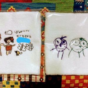 刺繍で残す子供の絵  両親にプレゼント