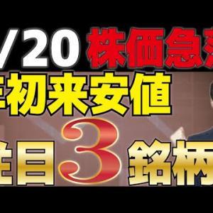 【7/20株価急落】急落の要因と年初来安値から探す期待3銘柄