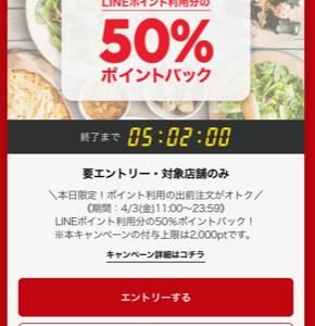 LINEポイント利用分50%バック。今日の夕飯はこれで決まり。