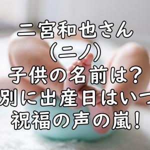 二宮和也(ニノ)の子供の名前は?性別や出産日はいつ?祝福の声の嵐!