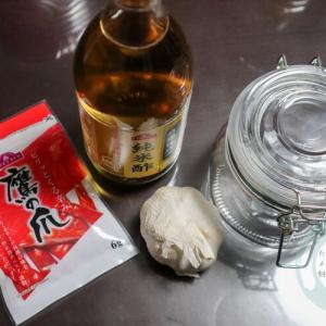 お酢と唐辛子とニンニクの虫除け液作り