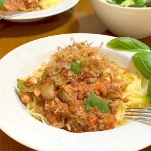 サバ舞茸トマトパスタ、冷凍餃子、旨味さん使い