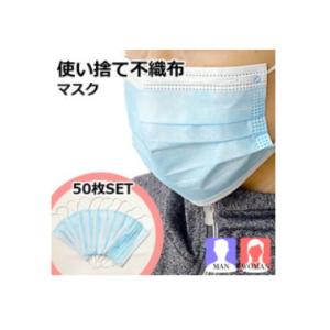 使い捨てマスク 50枚入り プリーツ式 レギュラーサイズ 大人用 価格:2850円(税込、送料無料)