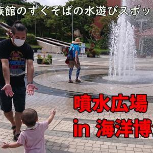 美ら海水族館から徒歩5分の沖縄の水遊びスポット『噴水広場in海洋博公園』で大人も大はしゃぎ