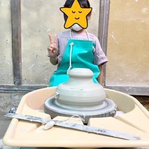 子供が陶芸教室で初めてのろくろ体験☆愛知県瀬戸市のオンリーワン陶芸教室
