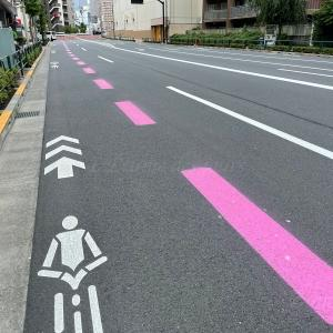道路のピンクの破線は東京五輪専用(優先)レーンだった!【2020オリンピック•パラリンピック】