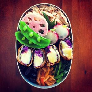【ゆるベジ】紫キャベツの海苔春巻き弁当