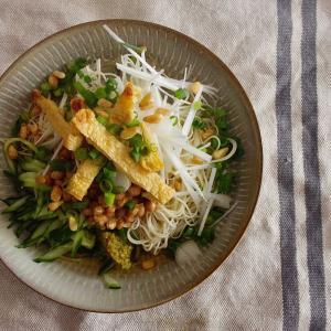 納豆カリカリお揚げそうめんで昼ごはん。