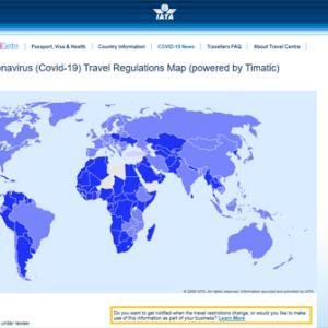 各国の入国制限が分かる!IATAがインタラクティブマップを公開。