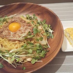 【納豆パスタ】もつ煮作ってた
