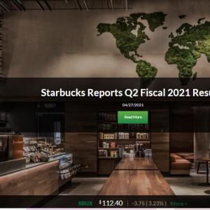 スターバックス(SBUX) 2021年度第2四半期決算発表 増収増益で何の不満があるの?
