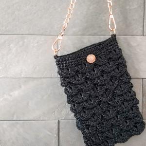 『ビヨンドザリーフと編むバッグ』より、スマホポシェット「モビエレ」を編みました。【トップをねらえがアマプラに…】