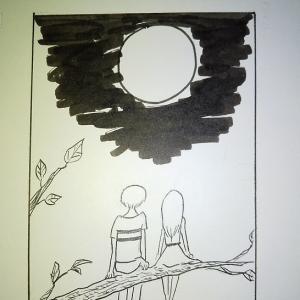満月の夜は・・・2コマ漫画