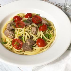 マグロとプチトマトのスパゲッティ