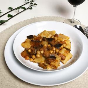ひよこ豆とナスのパスタ