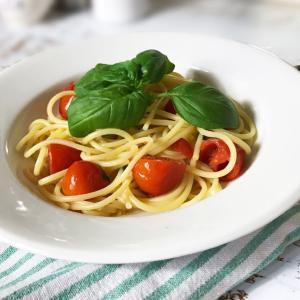 オーガニックのプチトマトでパスタ