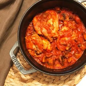 チキンのトマト煮込み。イタリアの定番料理