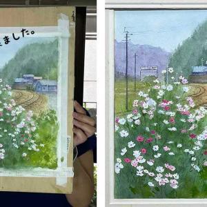 秋桜と線路2(生徒作品)