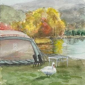 洞爺湖と白鳥(生徒作品)