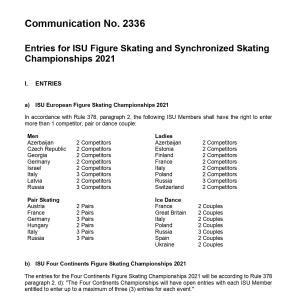2021年世界選手権枠が決定 Communication No. 233