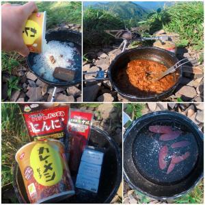 【山レシピ】超簡単!コンビニ調達材料だけで、「サラミ入りカレーメシ」