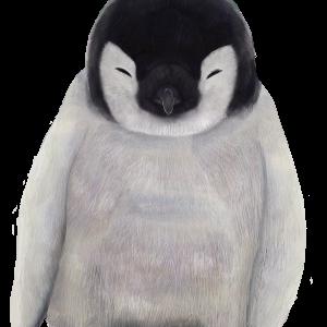 寝ている赤ちゃんペンギンのイラスト