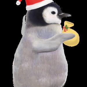 サンタさんの格好をしたリアルな赤ちゃんペンギンのイラスト