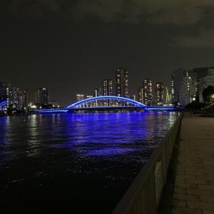 隅田川テラスSSD6キロ:今日は階段も走った・・・梅雨らしくない夜のラン