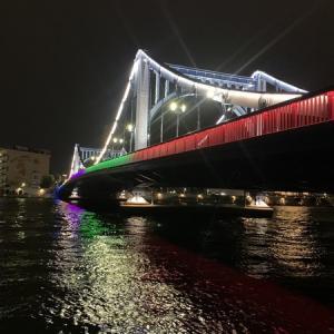 五輪カラーに染まる隅田川に架かる橋:清洲橋、永代橋、佃大橋、蔵前橋、厩橋、駒形橋、吾妻橋