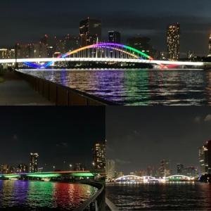 隅田川テラス12キロ:勝鬨橋からの折り返しで、橋のライトアップの撮影ラン