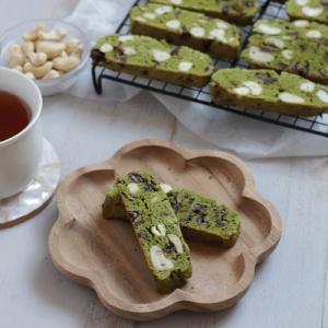 レシピ:米粉で作る♪チョコとカシューナッツの抹茶のビスコッティ~ナッツ・乳製品不使用~