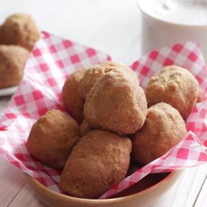 米粉レシピ:ふんわり。米粉のお豆腐ドーナツ♪(きな粉&プレーン)