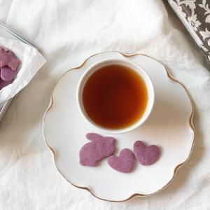 米粉レシピ:オイルで作ってサクサク♪紫芋の型抜きクッキー