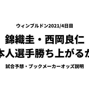 ウィンブルドン2021|4日目 錦織圭・西岡良仁の2戦目は厳しい試合となる
