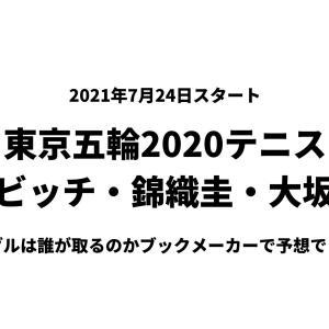 東京五輪2020テニス金メダル予想オッズ、あのブックメーカーで公開中