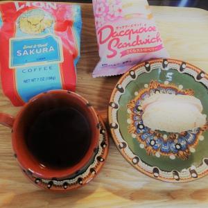 バイバイ桜。最後の「さくらゆべし」、「ダックワーズ 桜ストロベリー」、「SAKURA」(ライオンコーヒー)