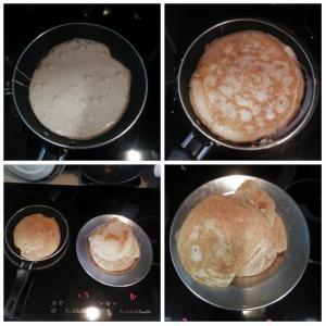 朝からパンケーキを作りました。