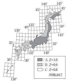 静岡県と沖縄県の地震地域係数。