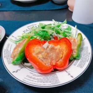 【料理】ピーマンとパプリカの肉詰め!
