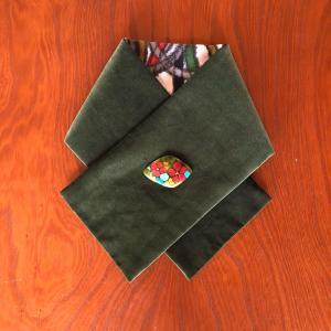 別珍と銘仙でリバーシブルの襟巻きを作りました